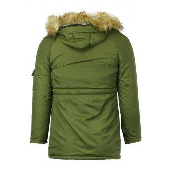 Color Block Multi-Zipper Stereo Patch Pocket Detachable Hooded Long Sleeves Men's Fitted Coat - ARMY GREEN XL