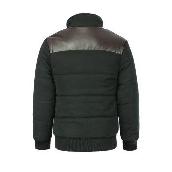 Slimming PU-Leather Splicing Stand Collar Long Sleeve Men's Cotton-Padded Jacket - BLACK M