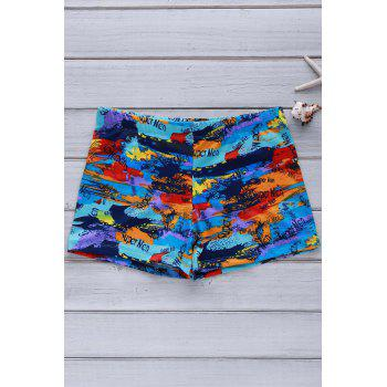 Elastic Colorful Printing Swimming Trunks For Men - COLORFUL COLORFUL