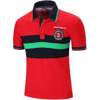 Brodé Color Block Stripe col rabattu manches courtes hommes  's Polo T-Shirt - Rouge L