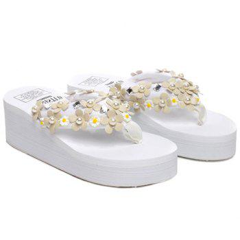 Leisure Faux Pearls and Appliques Design Women's Slippers - WHITE WHITE