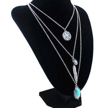 Gorgeous Multilayer Faux Turquoise Feather Flower Pendant Sweater Chain For Women - SILVER