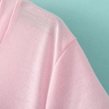 Casual V Neck Short Sleeves A Line Women's Dress - PINK M
