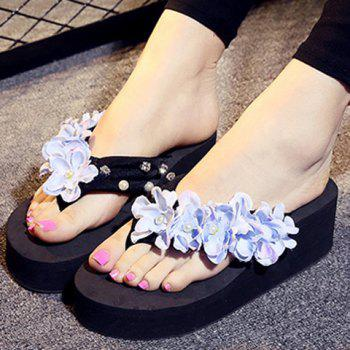 Casual Flowers and Rhinestones Design Women's Slippers - BLACK BLACK