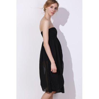 Charming Women's Strapless Solid Color Ruched Dress - BLACK M