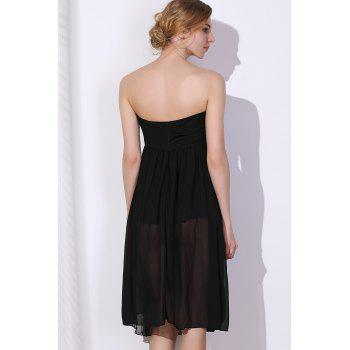 Charming Women's Strapless Solid Color Ruched Dress - BLACK XL
