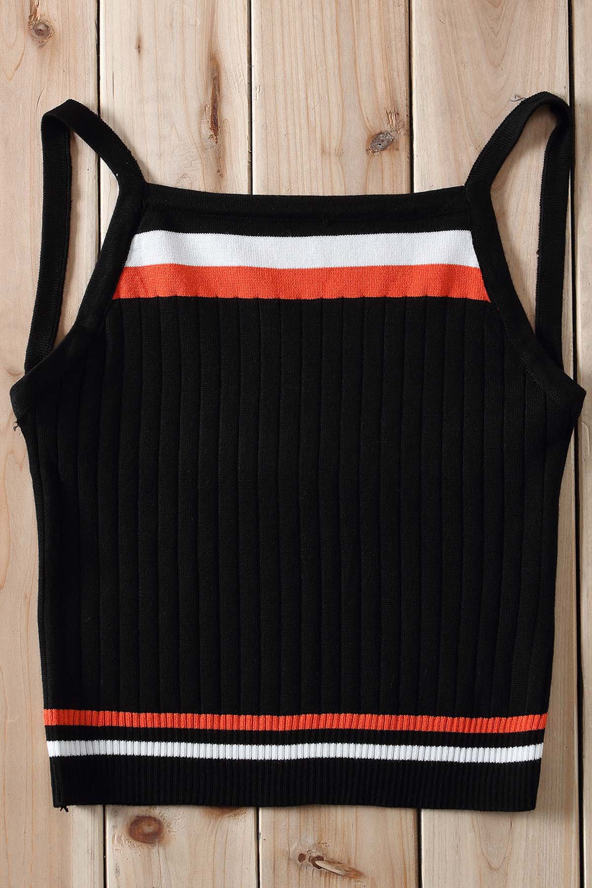 Sexy Women's Strappy Color Block Knitted Crop Top - BLACK ONE SIZE(FIT SIZE XS TO M)