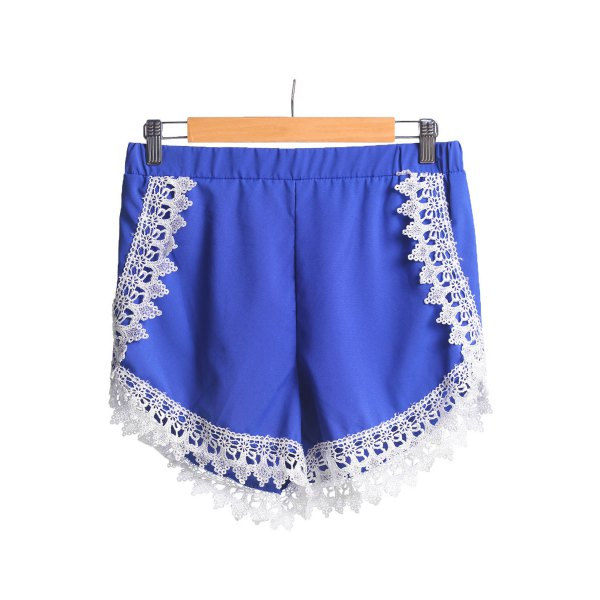 Casual Style Elastic Waist Lace Spliced Blue Women's Shorts