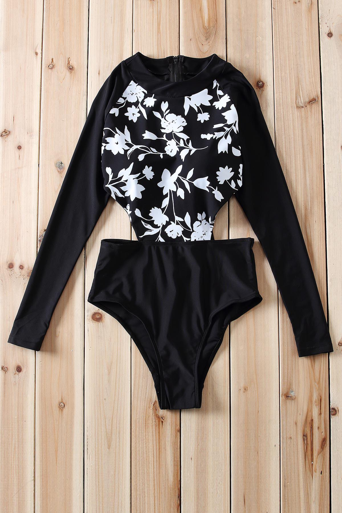 Sexy Round Neck Long Sleeve Hollow Out Floral Print Women's Swimwear - BLACK S