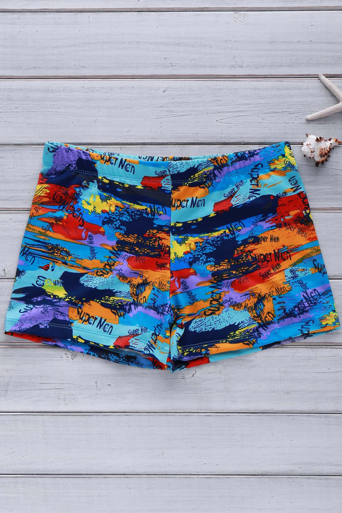 Elastic Colorful Printing Swimming Trunks For Men - COLORFUL 2XL