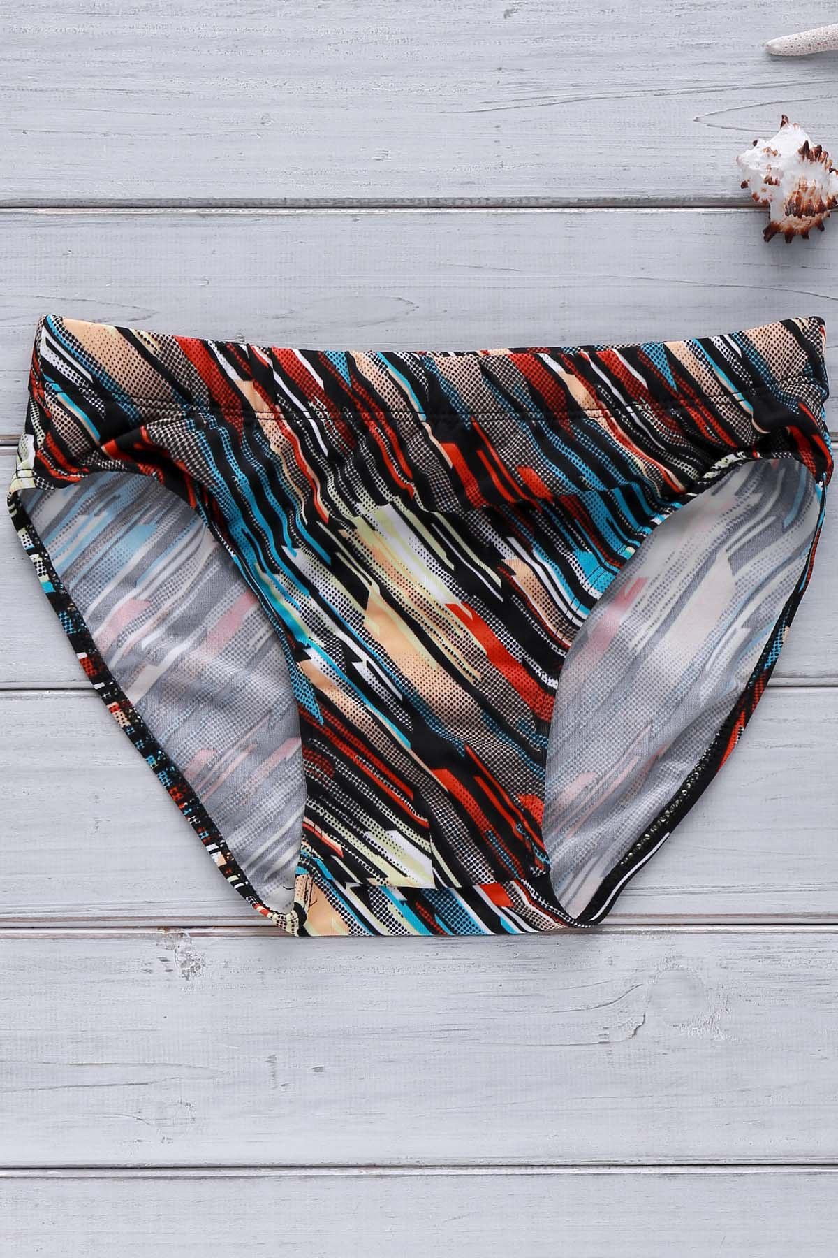 Men's Inclined Colorful Stripe Elastic Swimming Trunks