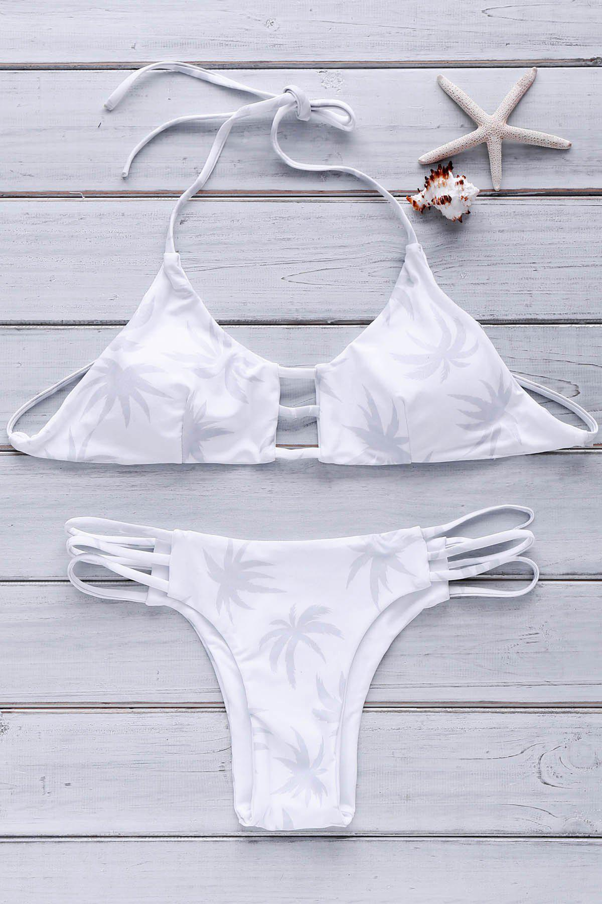 Sexy Halter Neck Hollow Out Tree Print   Women's Bikini Set - WHITE S