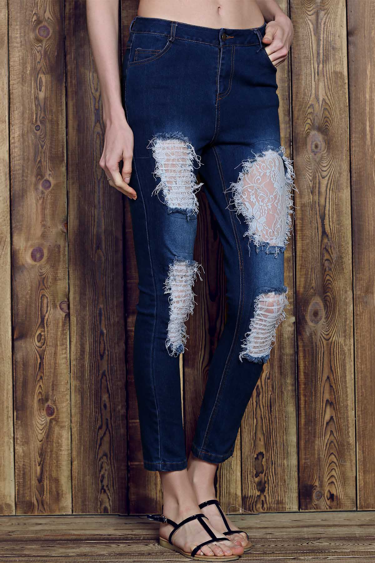 Chic Rose Print See-Through Lace Spliced Ripped Jeans For Women - DEEP BLUE S
