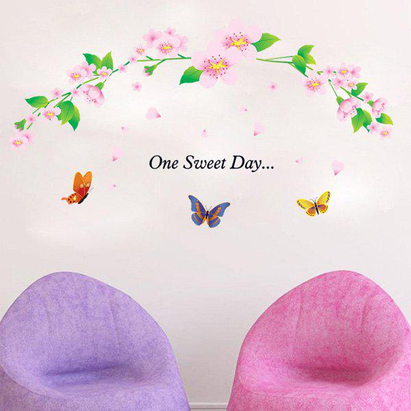 Fashion Flower Rattan and Butterflies Pattern Wall Sticker For Bedroom Livingroom Decoration - COLORMIX