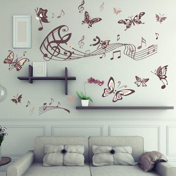 Fashion Music and Butterflies Pattern Wall Sticker For Bedroom Livingroom Decoration