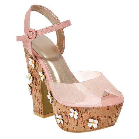 Fashionable Flowers and Peep Toe Design Women's Sandals - PINK 36