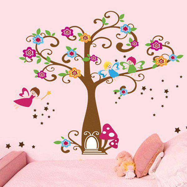 Fashion Colorful Flowers Tree Pattern Wall Sticker For Bedroom Livingroom Decoration - COLORMIX