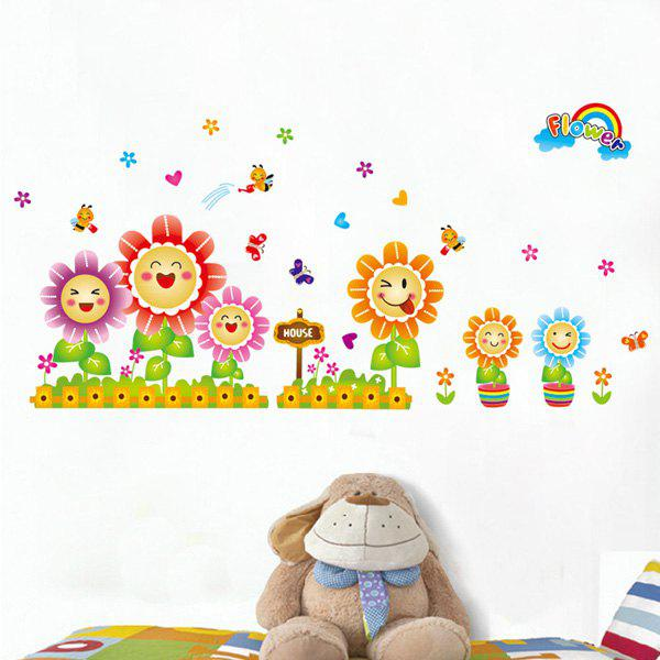Fashion Smiling Sunflowers Pattern Wall Sticker For Bedroom Livingroom Decoration - COLORMIX