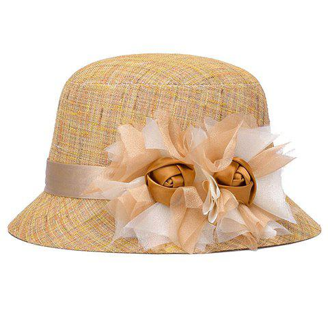 Chic Handmade Big Flower and Ribbon Embellished Women's Bucket Hat - GINGER