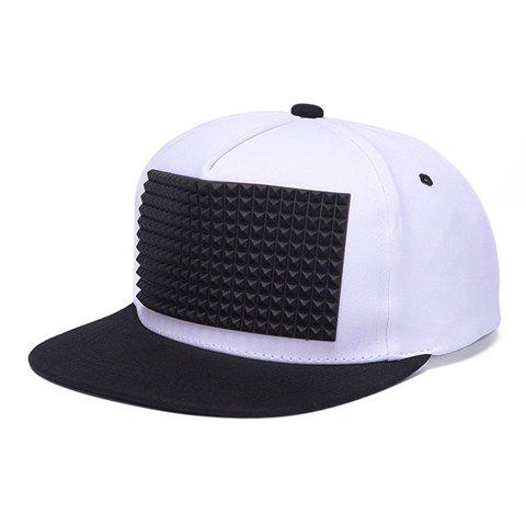Stylish Rivet Rectangle Shape Rubber Embellished Men's Baseball Cap - WHITE