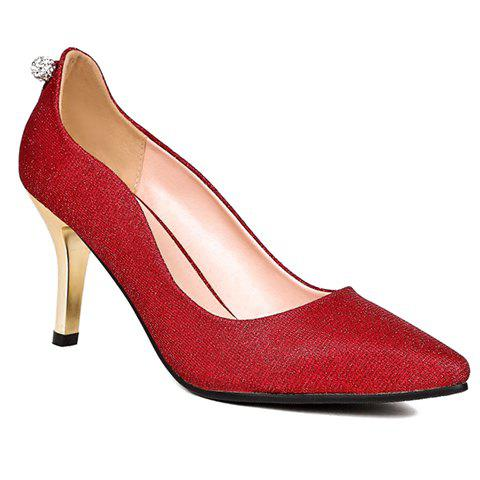Trendy Rhinestones and Solid Colour Design Women's Pumps - RED 37