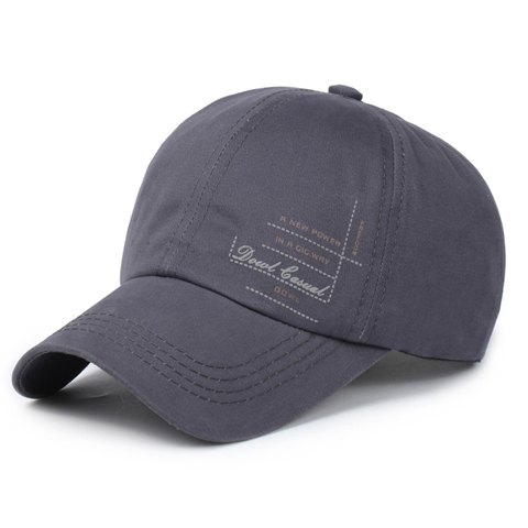 Stylish Letters and Dashed Line Pattern Men's Sport Baseball Cap - DEEP GRAY