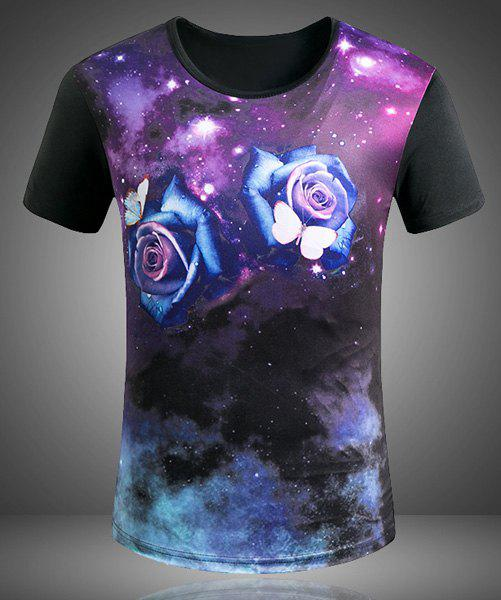 Plus Size Round Neck 3D Starry Sky Roses Print Short Sleeve Men's T-Shirt