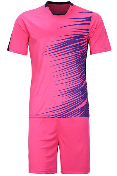 Hot Sale Mens Sports Style Football Training Jersey Set (T-Shirt+Shorts)Men<br><br><br>Size: 3XL<br>Color: ROSE