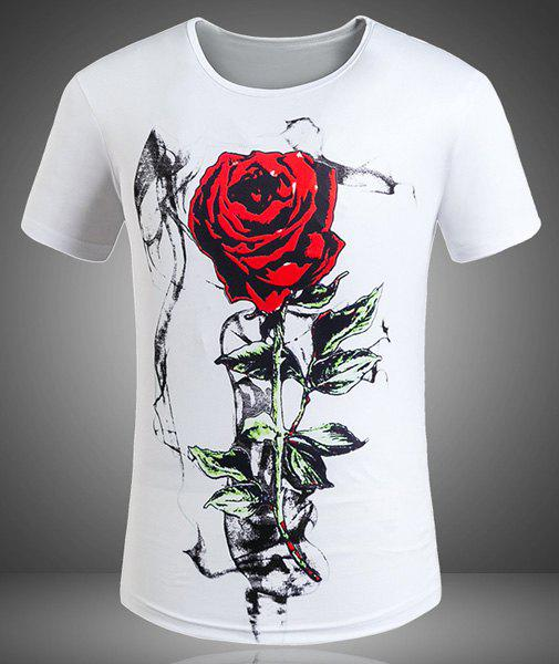 Plus Size Round Neck 3D Red Rose Print Short Sleeve Men's T-Shirt