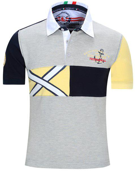 Letters Embroidered Color Block Spliced Turn-Down Collar Short Sleeve Men's Polo T-Shirt - GRAY 2XL