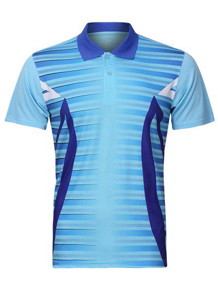 Turn Down Collar Men's Splicing Quick Dry Badminton Training T-Shirt - LIGHT BLUE M