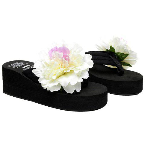 Casual Flower and Wedge Heel Design Women's Slippers - BLACK 37