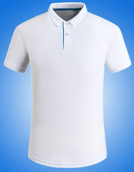 Plus Size Solid Color Turn-Down Collar Short Sleeve Men's Polo T-Shirt - WHITE 5XL