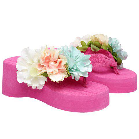 Ladylike Faux Pearls and Flowers Design Women's Slippers - ROSE 36