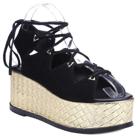 Rome Black Color and Lace-Up Design Women's Sandals - BLACK 36