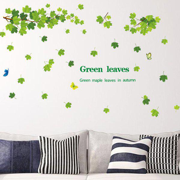 Fashion Green Leaves Pattern Wall Sticker For Bedroom Livingroom Decoration - GREEN