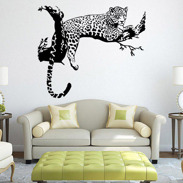 Fashion White and Black Leopard Pattern Wall Sticker For Bedroom Livingroom Decoration - BLACK