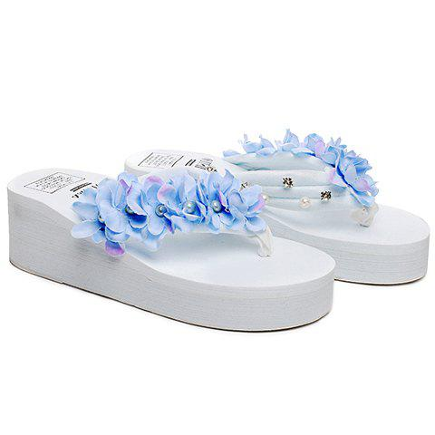 Casual Flowers and Rhinestones Design Women's Slippers - WHITE 38