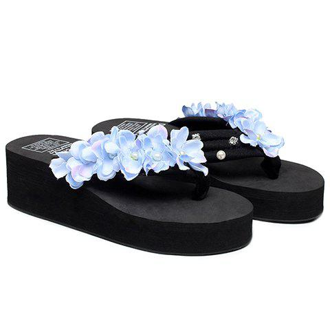 Casual Flowers and Rhinestones Design Women's Slippers - BLACK 38