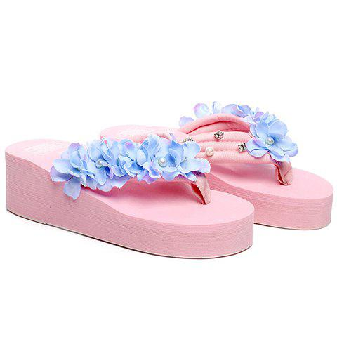 Casual Flowers and Rhinestones Design Women's Slippers - PINK 40