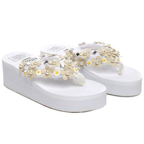 Leisure Faux Pearls and Appliques Design Women's Slippers - WHITE 40