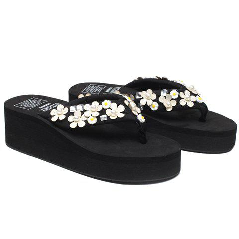 Leisure Faux Pearls and Appliques Design Women's Slippers - BLACK 40