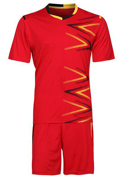 Men's Sports Style Splicing Football Training Jersey Set (T-Shirt+Shorts) - RED 2XL