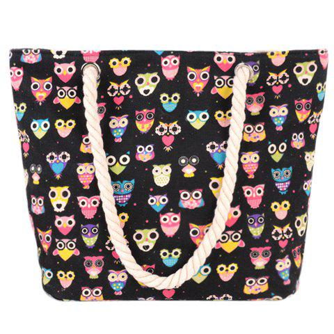 Owl Print and Canvas Design Beach Shoulder Bag - BLACK