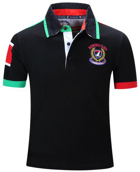 Letters Badge Embroidered Color Block Spliced Turn-Down Collar Short Sleeve Men's Polo T-Shirt - BLACK M