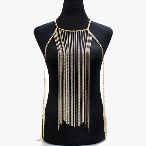 Charming Solid Color Tassel Body Chain For Women - GOLDEN
