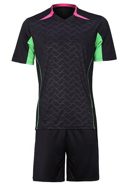 Men's Color Block Sports Style Football Training Jersey Set (T-Shirt+Shorts) - BLACK L