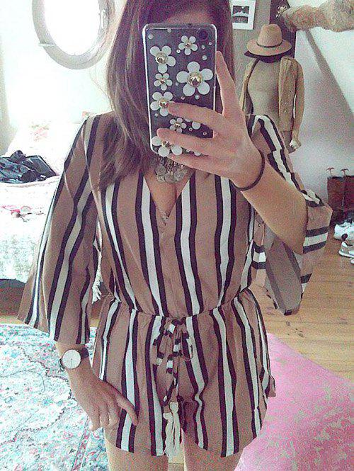 Alluring Stripe 3/4 Sleeve Plunging Neck Women's Romper - STRIPE S