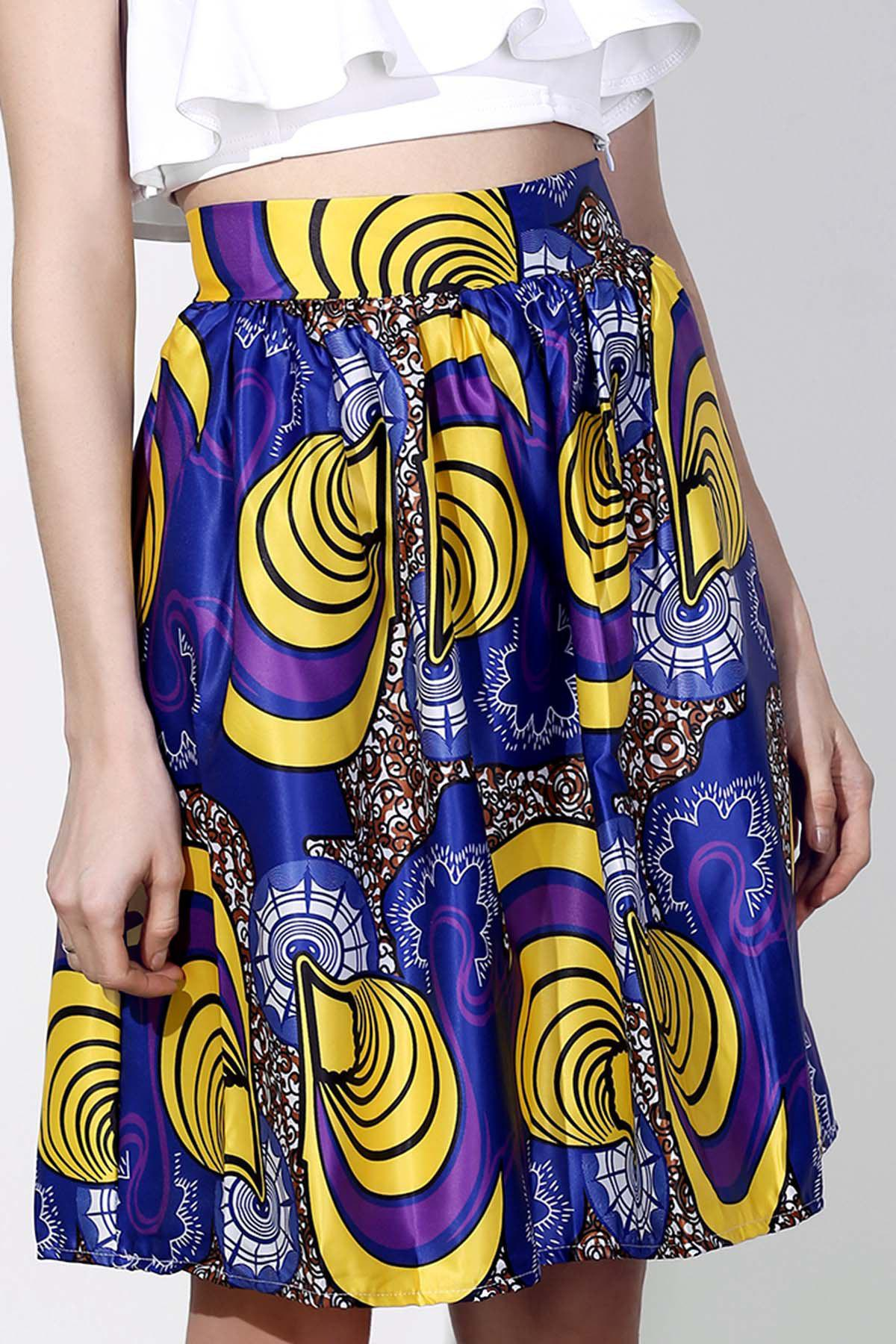 Vintage Printed High-Waisted Women's Pleated Skirt
