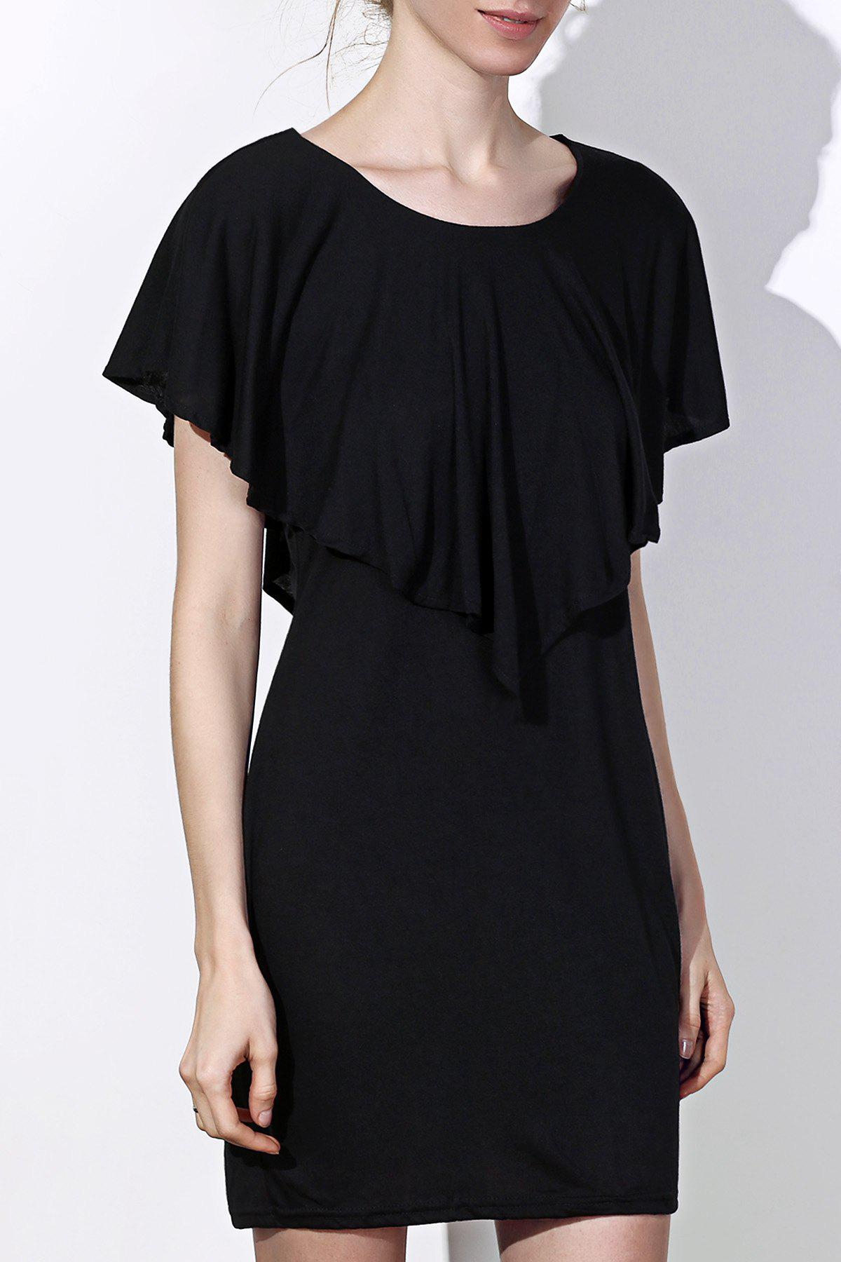Fashionable Womens Scoop Neck Solid Color Short Sleeve DressWomen<br><br><br>Size: 2XL<br>Color: BLACK